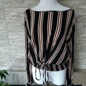 Black Striped Rayon Blouse | Tie up waist | L